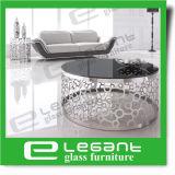 Mesinha redonda de vidro preto temperado com base de aço inoxidável esculpida