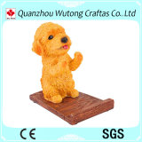 Figura linda de calidad superior papel del perro de la oficina del sostenedor del teléfono móvil de la resina del diseño