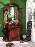 Tabla marrón de madera para muebles, tocador con espejo
