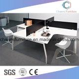 Sitio de trabajo blanco y negro del escritorio del ordenador de oficina de personal 4 del diseño cruzado popular