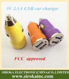 Заряжатель сотового телефона DC USB поставкы фабрики пули двойной с 2 USB Port 5V 2.1A