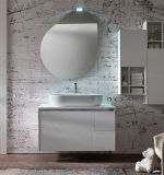 Wall Mounted Woodgrain Mirror Armazenamento de banheiro para custom-made