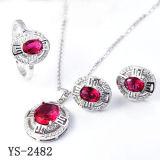 Juwelen 925 van de manier het Zilveren Robijnrode Vastgestelde Geplateerde Zilver van Juwelen