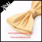 Laço de curva por atacado tecido jacquard do ouro da seda de 100%