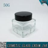 choc cosmétique clair carré élégant de crème de la bouteille 50g en verre