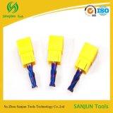 Moinho de extremidade elevado da dureza HRC65 para os tipos de aço Cast/2 flauta de CNC de Endmill do cortador/carboneto de trituração
