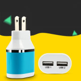 2.1A verdoppeln USB-Arbeitsweg-Wand-Aufladeeinheits-Adapter für Handy-Tablette