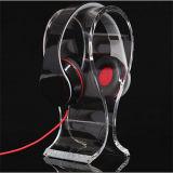 Carrinho de indicador acrílico desobstruído do auscultadores, cremalheira de indicador do fone de ouvido