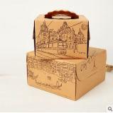 음식의 주문을 받아서 만들어진 다채로운 판지 상자 케이크 상자