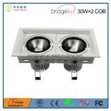 Ce&RoHS a reconnu 30W&times ; Lampe de gril de 2 Double-Têtes DEL avec la puce très brillante de l'ÉPI DEL de Bridgelux