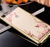 De Diamant van de luxe bloeit Geval van de Telefoon TPU van de Rugdekking van het Patroon het Zachte voor Huawei