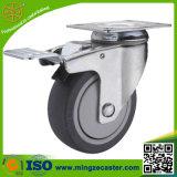 灰色のゴム製車輪が付いている5インチの旋回装置の足車