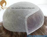 Toupee 100% человеческих волос Remy верхнего качества с тонким Frontal шнурка кожи