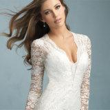 Платье шикарной колонки оболочки втулки шнурка полной Bridal (Wish-17)