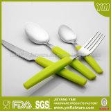 la vaisselle plate en plastique d'acier inoxydable du traitement 24PCS a placé dans la couleur verte