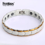 De Witte en Gouden Ceramische Armband van de luxe voor Mannetje met Tourmaline