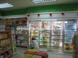 Прогулка супермаркета в стеклянном замораживателе двери