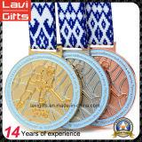 Alta calidad del oro / plata medalla deportiva con la cinta