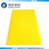 Hoja plástica del material para techos del color del policarbonato decorativo amarillo del panel