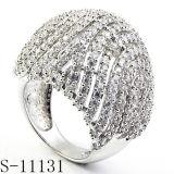 형식 반지 입방 지르코니아는 925의 은 숙녀 반지를 둥글게 된다