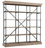 Estante de madera reclamado del estante de la esquina de la sala de estar de la visualización del metal del precio de fabricante