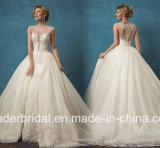 Schutzkappe Sleeves Brautkleid-Spitze-Tulle-Hochzeits-Kleid Yao8