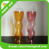Garrafa de água feita sob encomenda barata do plástico do suco de fruta da bebida da forma da flor de Rosa