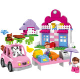 Glücklicher Stadtplastik blockt Spielzeug für Kinder