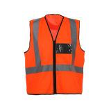Het hoge Vest van de Veiligheid van het Zicht Weerspiegelende met Zak