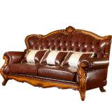Sofá del cuero genuino con la cabina para los muebles de la sala de estar