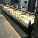 Холодильник открытой выкладки горячего супермаркета сбывания стандартный для витрины индикации мяса/цыплятины/рыб