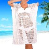 Regalo del Año Nuevo 2017 alineadas Chiffon de los Kaftans de la playa de las mujeres del paño del mantón de la playa de señora Sexy White Long Swimsuit de la túnica de la playa del verano