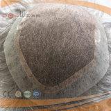 Toupee grigio di vendita dei capelli umani di colore del bordo dell'unità di elaborazione migliore per gli uomini di Medio Evo