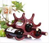 Festes Holz-Rahmen-Rotwein-Speicher-Zahnstangen-stapelbares 6 Flaschen-Keller-Bildschirmanzeige-Regal