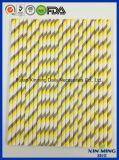 Paja del papel rayado de Gree del amarillo de la decoración del partido