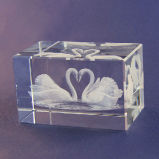 кубик лебедя гравировки лазера 3D кристаллический для кристаллический украшения корабля