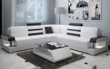 現代現代的な革部門別のソファー、白くおよび黒い(HC1073)