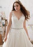 Мантия венчания размера Plue красивейшего Applique Lac шифоновая