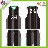 Baloncesto sublimado Jersey de la raya del negro del verde azul y cortocircuitos