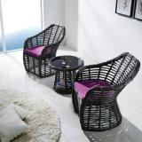 Venda quente sofá ao ar livre anodizado da mobília do Rattan de alumínio do frame com tamborete