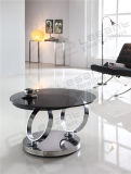 LuxuxRound Rotating Glass Coffee Table mit Edelstahl Base