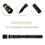 Justierbare LED Fackel des nachladbaren Multifunktionsfokus-mit Messer-Glasunterbrecher-Hammer Zoomable taktischer Taschenlampe