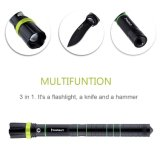 Multifunción recargable foco ajustable LED antorcha con el cuchillo martillo de cristal martillo Zoomable táctico linterna