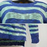女性熱い販売は最もよい価格によって編まれるばねのセーターを縞で飾る