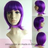 Горячие продавая волосы головного прямого парика Bob пурпуровые синтетические