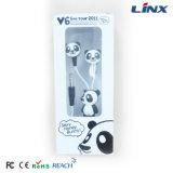Auricular lindo del diseño del auricular del diseño de la panda con el rectángulo de regalo