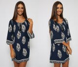 Lange Hülsen-Blatt-Drucken-Großhandelsfrauen lösen westliche Kleider