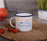 Sunboat Enamel Tea Coffee Mug Cup + Lid Porcelain Decal Mug Tableware