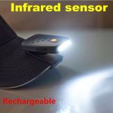 帽子ライトの再充電可能な釣ハンチングランプ3 LED赤外線センサークリップ