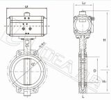 Water TreatmentのためのすべてのStainless Steel Pneumatic Butterfly Valve
